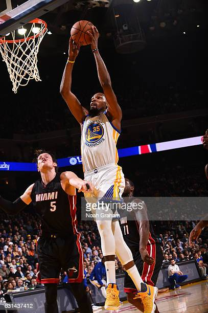 Kevin Durant of the Golden State Warriors goes up for a dunk during a game against the Miami Heat on January 10 2017 at ORACLE Arena in Oakland...