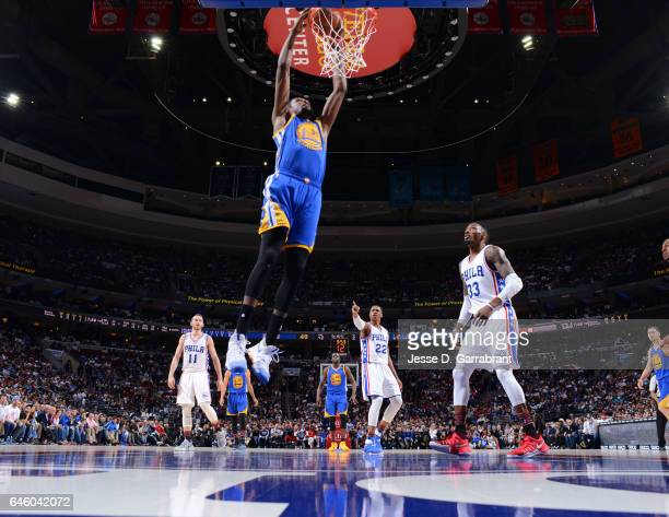 Kevin Durant of the Golden State Warriors goes up for the dunk against the Philadelphia 76ers at Wells Fargo Center on February 27 2017 in...