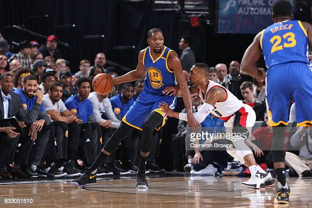 Kevin Durant of the Golden State Warriors handles the ball against the Portland Trail Blazers on January 29 2017 at the Moda Center in Portland...