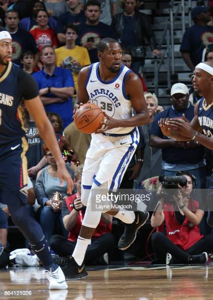 Kevin Durant of the Golden State Warriors handles the ball against the New Orleans Pelicans on October 20 2017 at Smoothie King Center in New Orleans...