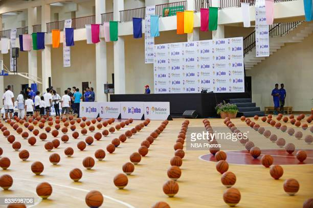 Kevin Durant of the Golden State Warriors hosts a Jr NBA Clinic in Delhi National Capital Region in Delhi India on July 28 2017 NOTE TO USER User...