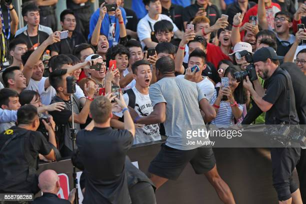 Kevin Durant of the Golden State Warriors interacts with fans during Special Olympics Clinic as part of the 2017 Global Games China on October 7 2017...