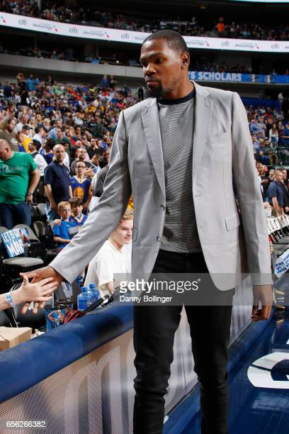 Kevin Durant of the Golden State Warriors is seen before the game against the Dallas Mavericks on March 21 2017 at the American Airlines Center in...