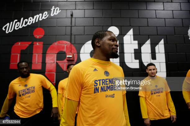 Kevin Durant of the Golden State Warriors is seen before the game against the Portland Trail Blazers in Game Four of the Western Conference...