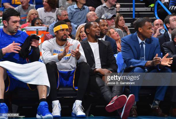 Kevin Durant of the Golden State Warriors looks on against the Oklahoma City Thunder during the game on March 20 2017 at Chesapeake Energy Arena in...