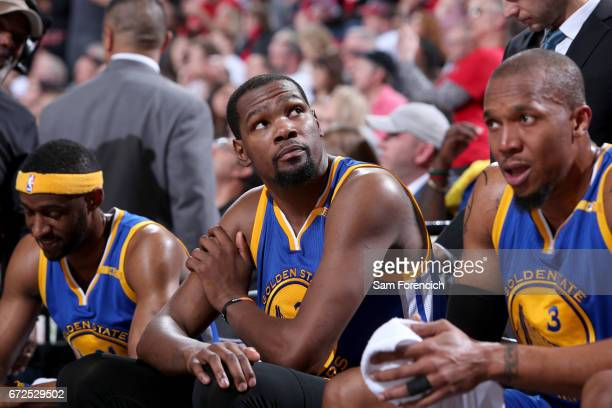Kevin Durant of the Golden State Warriors looks on during the game against the Portland Trail Blazers during Game Four of the Western Conference...