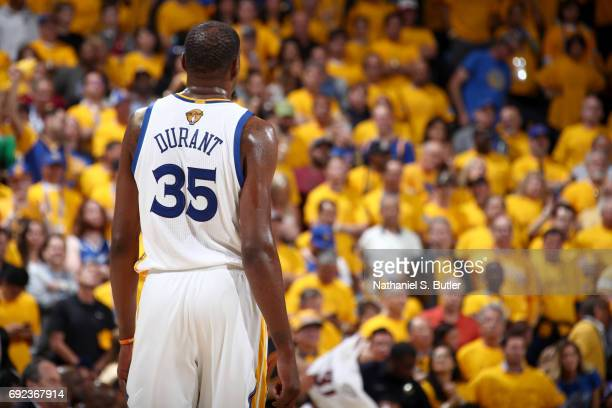 Kevin Durant of the Golden State Warriors looks on during the game against the Cleveland Cavaliers in Game Two of the 2017 NBA Finals on June 4 2017...