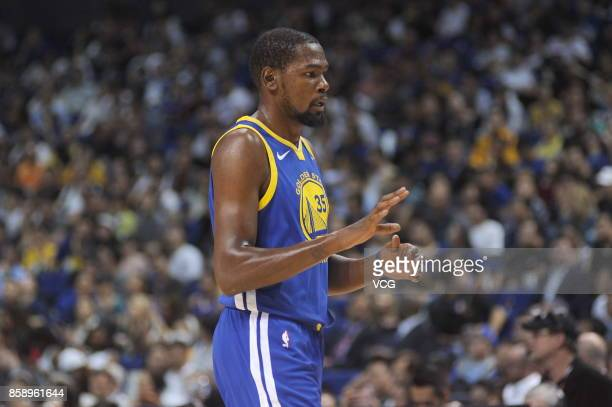 Kevin Durant of the Golden State Warriors looks on during the game against the Minnesota Timberwolves as part of 2017 NBA Global Games China on...