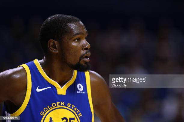 Kevin Durant of the Golden State Warriors looks on during the game between the Minnesota Timberwolves and the Golden State Warriors as part of 2017...