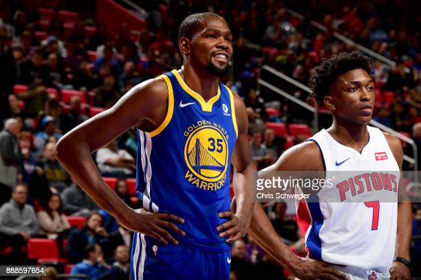 Kevin Durant of the Golden State Warriors looks on during the game against the Detroit Pistons on December 8 2017 at Little Caesars Arena in Detroit...