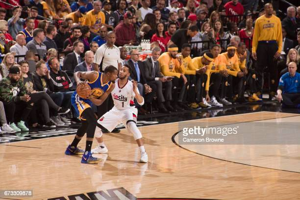 Kevin Durant of the Golden State Warriors looks to drive to the basket against the Portland Trail Blazers in Game Four of the Western Conference...