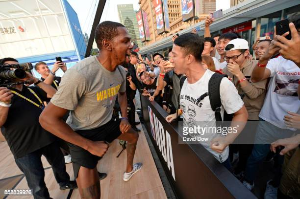 Kevin Durant of the Golden State Warriors participates during Special Olympics Clinic as part of the 2017 Global Games China on October 7 2017 at the...