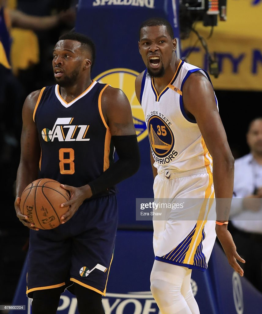 Kevin Durant #35 of the Golden State Warriors reacts against Shelvin Mack #8 of the Utah Jazz during Game Two of the NBA Western Conference Semi-Finals at ORACLE Arena on May 4, 2017 in Oakland, California.