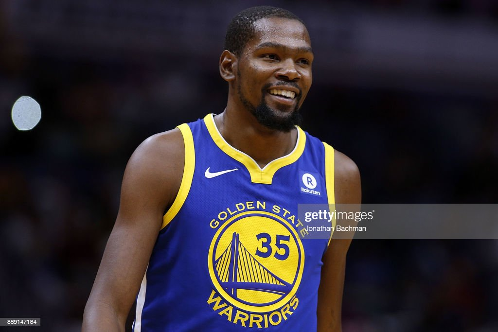 Kevin Durant #35 of the Golden State Warriors reacts during a game against the New Orleans Pelicans at the Smoothie King Center on December 4, 2017 in New Orleans, Louisiana.