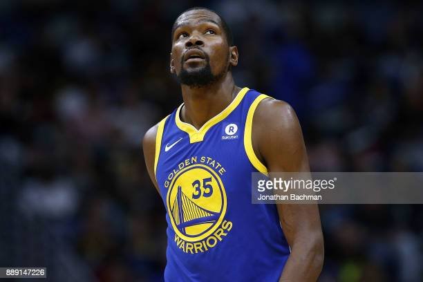 Kevin Durant of the Golden State Warriors reacts during a game against the New Orleans Pelicans at the Smoothie King Center on December 4 2017 in New...