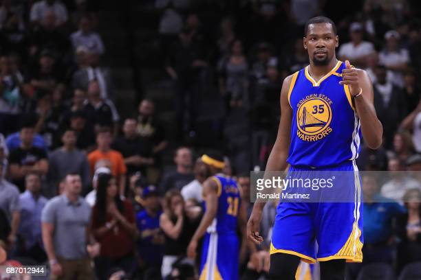Kevin Durant of the Golden State Warriors reacts in the second half against the San Antonio Spurs during Game Four of the 2017 NBA Western Conference...