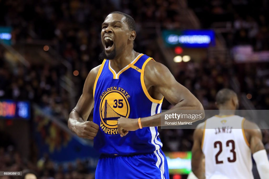 Kevin Durant #35 of the Golden State Warriors reacts late in the fourth quarter against the Cleveland Cavaliers in Game 3 of the 2017 NBA Finals at Quicken Loans Arena on June 7, 2017 in Cleveland, Ohio.