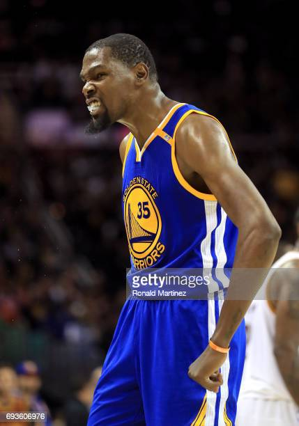 Kevin Durant of the Golden State Warriors reacts late in the fourth quarter against the Cleveland Cavaliers in Game 3 of the 2017 NBA Finals at...