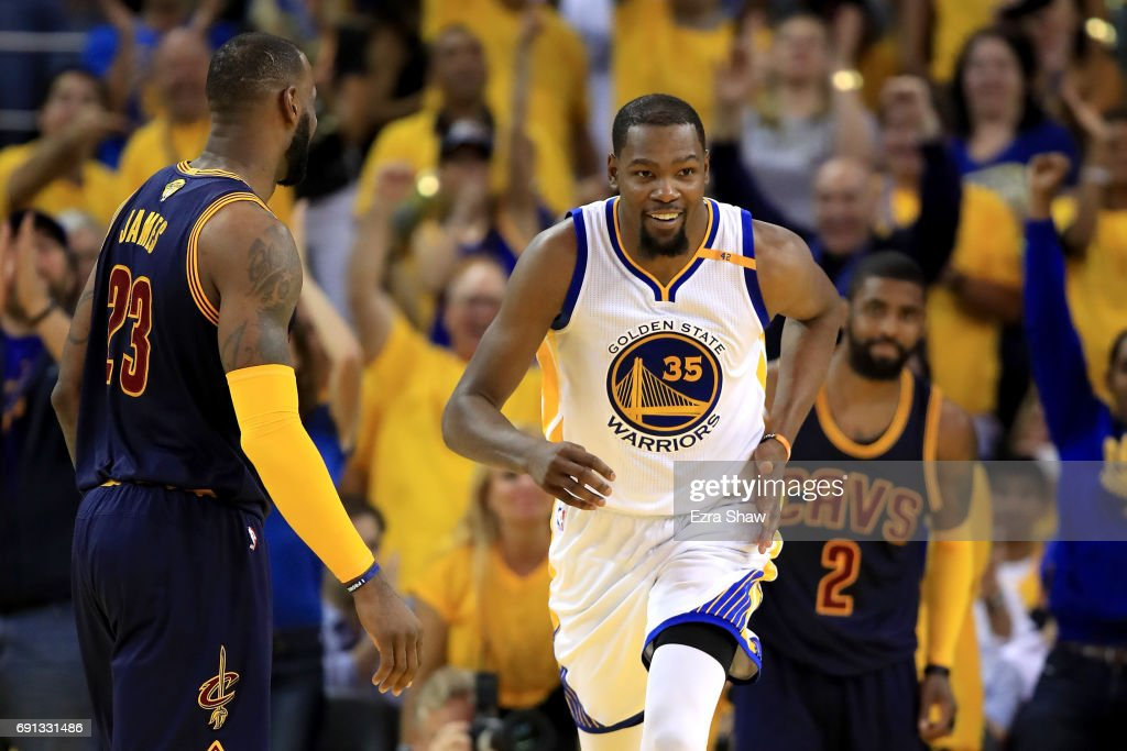 Kevin Durant #35 of the Golden State Warriors reacts to a play against the Cleveland Cavaliers in Game 1 of the 2017 NBA Finals at ORACLE Arena on June 1, 2017 in Oakland, California.