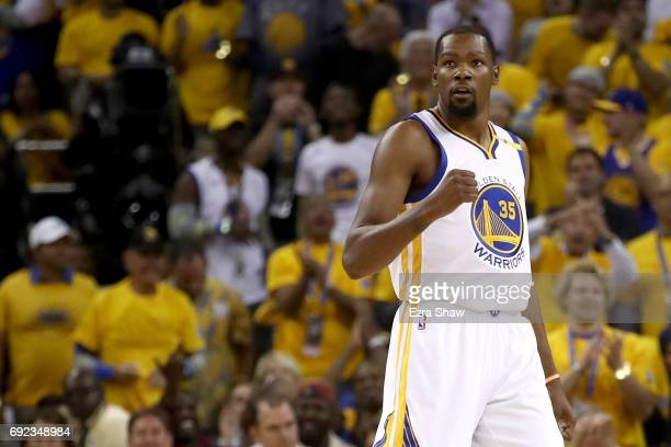 Kevin Durant of the Golden State Warriors reacts to a play in Game 2 of the 2017 NBA Finals against the Cleveland Cavaliers at ORACLE Arena on June 4...