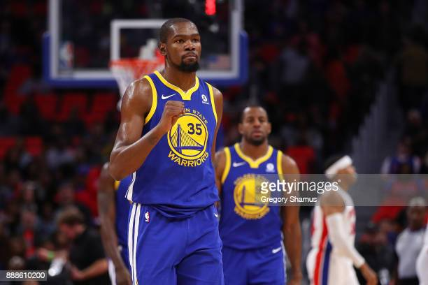 Kevin Durant of the Golden State Warriors reacts to two three made free throws in the fourth quarter while playing the Detroit Pistons at Little...