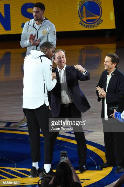 Kevin Durant of the Golden State Warriors receives his ring during the NBA Championship ring ceremony on October 17 2017 at ORACLE Arena in Oakland...