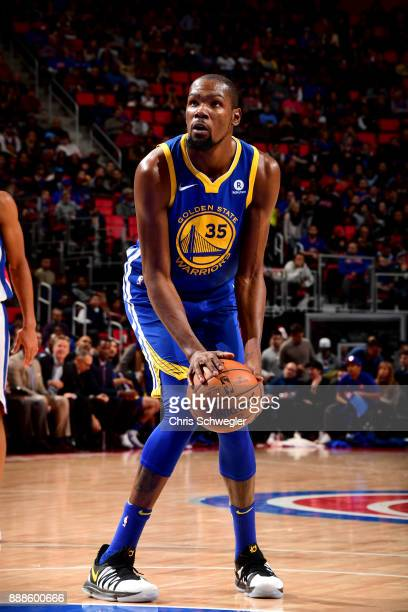Kevin Durant of the Golden State Warriors shoots a free throw against the Detroit Pistons on December 8 2017 at Little Caesars Arena in Detroit...