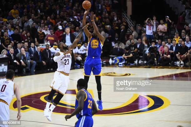 Kevin Durant of the Golden State Warriors shoots the ball against LeBron James of the Cleveland Cavaliers in Game Three of the 2017 NBA Finals on...