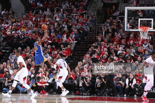 Kevin Durant of the Golden State Warriors shoots the ball against the Portland Trail Blazers during Game Four of the Western Conference Quarterfinals...