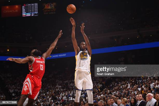 Kevin Durant of the Golden State Warriors shoots the ball against the Houston Rockets on October 17 2017 at ORACLE Arena in Oakland California NOTE...