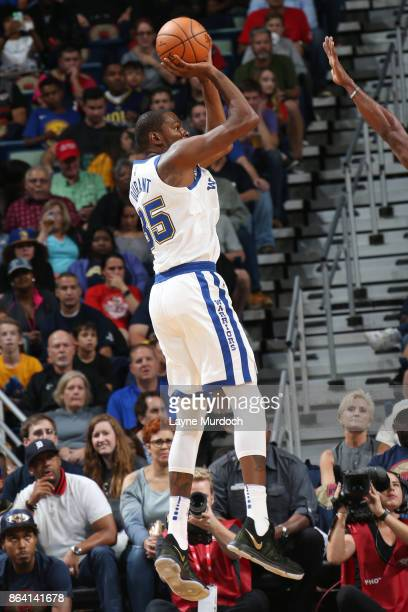 Kevin Durant of the Golden State Warriors shoots the ball against the New Orleans Pelicans on October 20 2017 at Smoothie King Center in New Orleans...