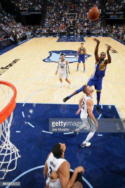 Kevin Durant of the Golden State Warriors shoots the ball against the Memphis Grizzlies on October 21 2017 at FedExForum in Memphis Tennessee NOTE TO...