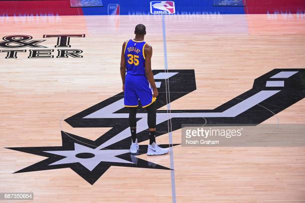 Kevin Durant of the Golden State Warriors stands on the court in Game Four of the Western Conference Finals against the San Antonio Spurs during the...