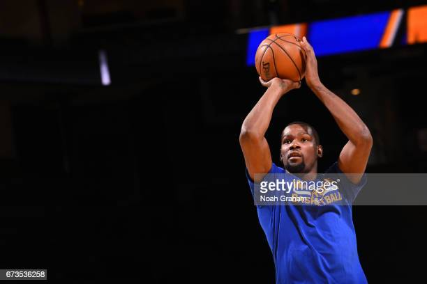 Kevin Durant of the Golden State Warriors warms up before a game against the Memphis Grizzlies on March 26 2017 at ORACLE Arena in Oakland California...
