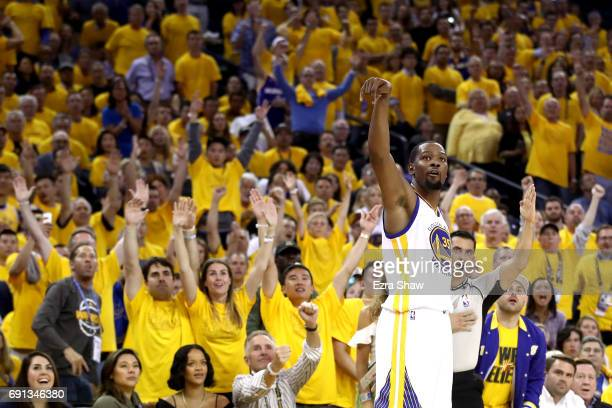 Kevin Durant of the Golden State Warriors watches his threepoint shot in Game 1 of the 2017 NBA Finals against the Cleveland Cavaliers at ORACLE...