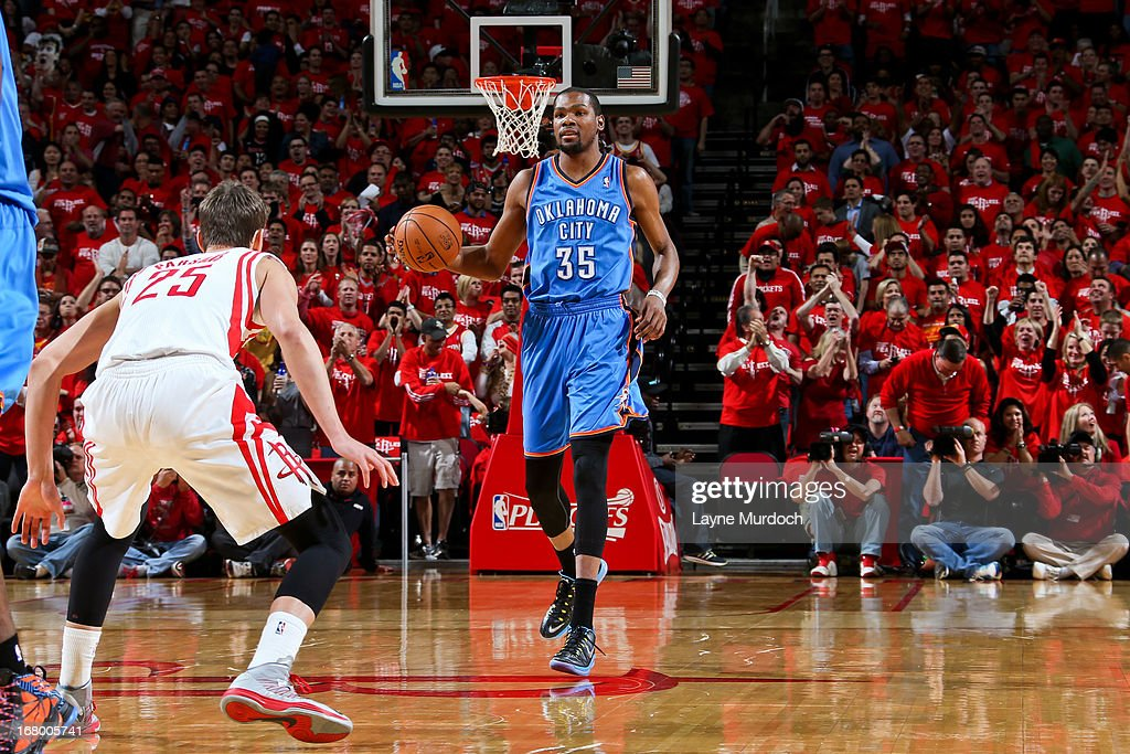 Kevin Durant #35 of the Oklahoma City Thunder advances the ball against Chandler Parsons #25 of the Houston Rockets in Game Six of the Western Conference Quarterfinals during the 2013 NBA Playoffs on May 3, 2013 at the Toyota Center in Houston, Texas.