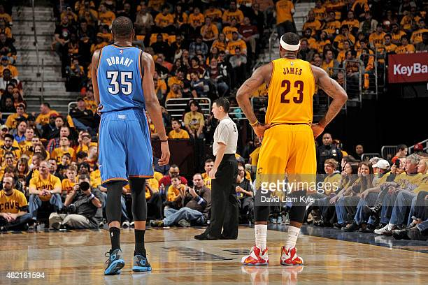 Kevin Durant of the Oklahoma City Thunder and LeBron James of the Cleveland Cavaliers during the game on January 25 2015 at Quicken Loans Arena in...