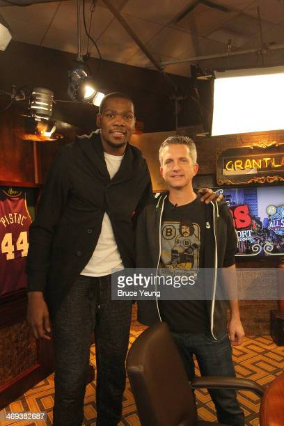 Kevin Durant of the Oklahoma City Thunder and sports analyst Bill Simmons pose for a photograph during the NBAE Circuit as part of 2014 AllStar...