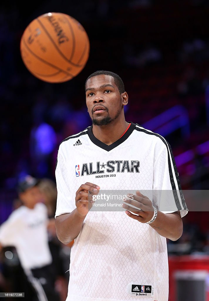 Kevin Durant #35 of the Oklahoma City Thunder and the Western Conference warms up before the 2013 NBA All-Star game at the Toyota Center on February 17, 2013 in Houston, Texas.
