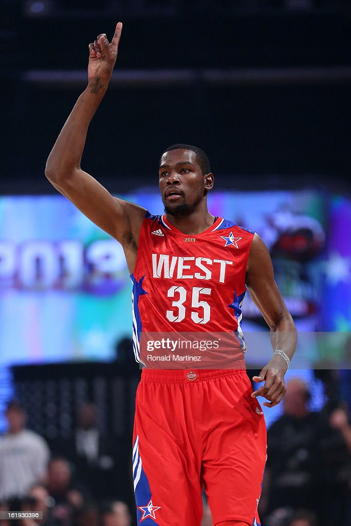 Kevin Durant #35 of the Oklahoma City Thunder and the Western Conference reacts in the first quarter during the 2013 NBA All-Star game at the Toyota Center on February 17, 2013 in Houston, Texas.