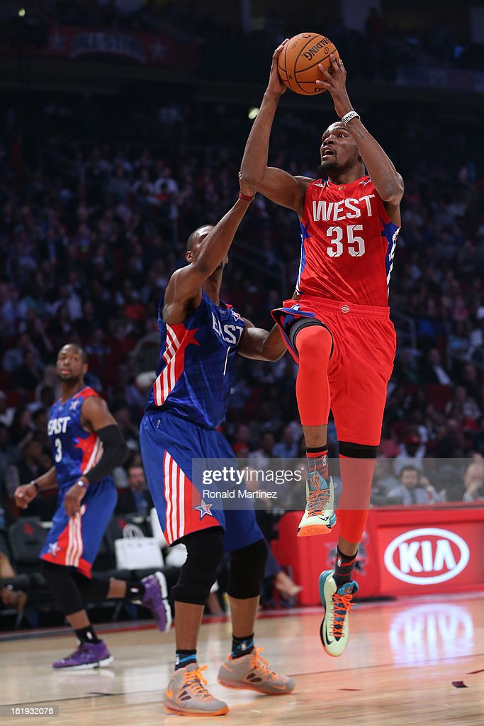 Kevin Durant #35 of the Oklahoma City Thunder and the Western Conference goes up for a shot against Chris Bosh #1 of the Miami Heat and the Eastern Conference in the first quarter during the 2013 NBA All-Star game at the Toyota Center on February 17, 2013 in Houston, Texas.