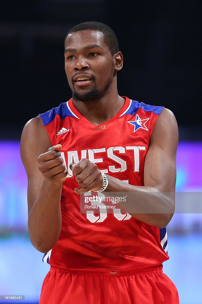 Kevin Durant #35 of the Oklahoma City Thunder and the Western Conference reacts in the second quarter during the 2013 NBA All-Star game at the Toyota Center on February 17, 2013 in Houston, Texas.