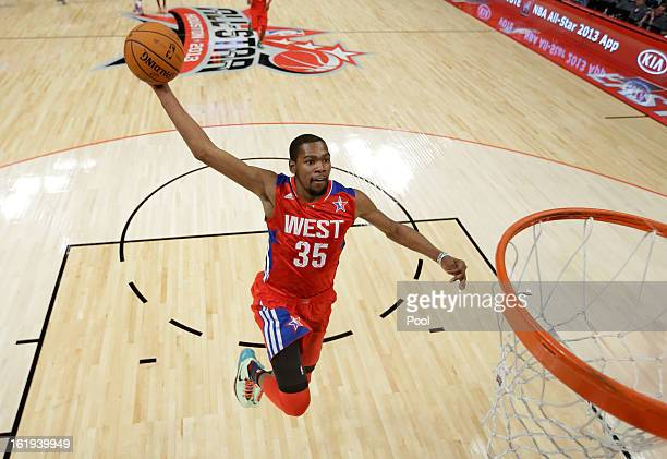 Kevin Durant of the Oklahoma City Thunder and the Western Conference goes up for a dunk during the 2013 NBA AllStar game at the Toyota Center on...