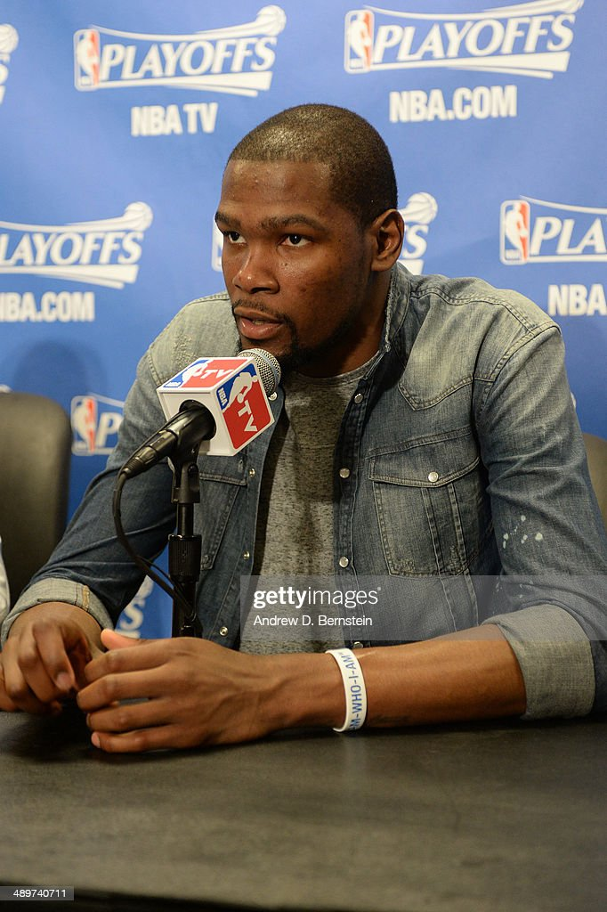 <a gi-track='captionPersonalityLinkClicked' href=/galleries/search?phrase=Kevin+Durant&family=editorial&specificpeople=3847329 ng-click='$event.stopPropagation()'>Kevin Durant</a> #35 of the Oklahoma City Thunder answers questions from the media after leading their team to victory over the Los Angeles Clippers in Game Three of the Western Conference Semifinals during the 2014 NBA Playoffs at Staples Center on May 9, 2014 in Los Angeles, California.
