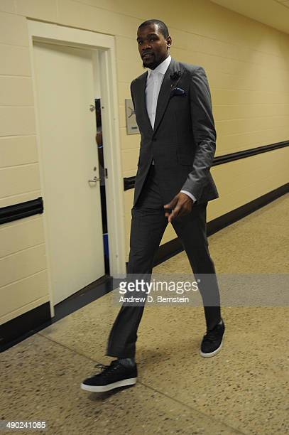 Kevin Durant of the Oklahoma City Thunder arrives at Chesapeake Energy Arena before Game Five of the Western Conference Semifinals against the Los...