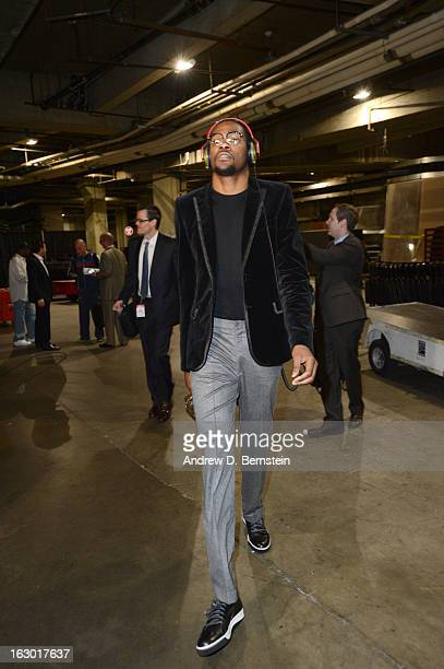 Kevin Durant of the Oklahoma City Thunder arrives at the arena before taking on the Los Angeles Clippers at Staples Center on March 3 2013 in Los...