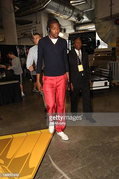 Kevin Durant of the Oklahoma City Thunder arrives at the arena prior to the game against the Miami Heat during Game Five of the 2012 NBA Finals at...
