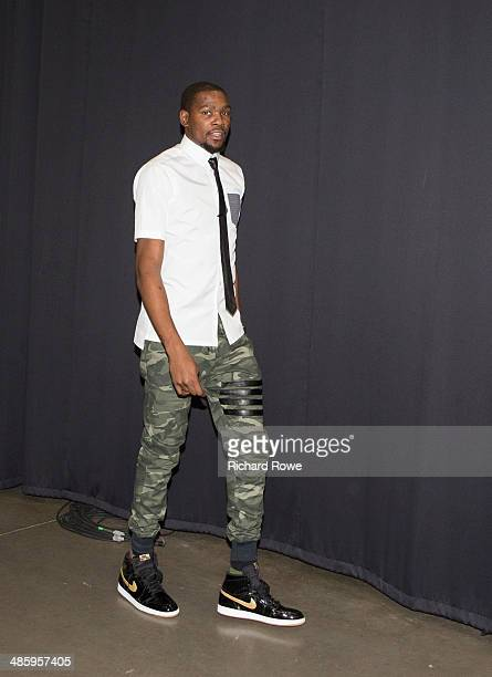 Kevin Durant of the Oklahoma City Thunder arrives before a game against the Memphis Grizzlies in Game Two of the Western Conference Quarterfinals...