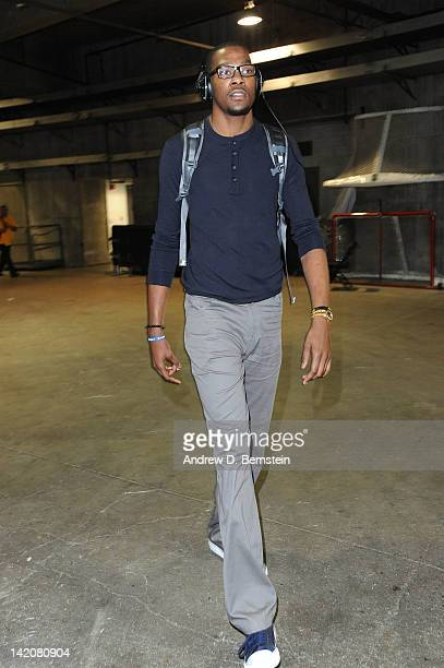 Kevin Durant of the Oklahoma City Thunder arrives before taking on the Los Angeles Lakers at Staples Center on March 29 2012 in Los Angeles...