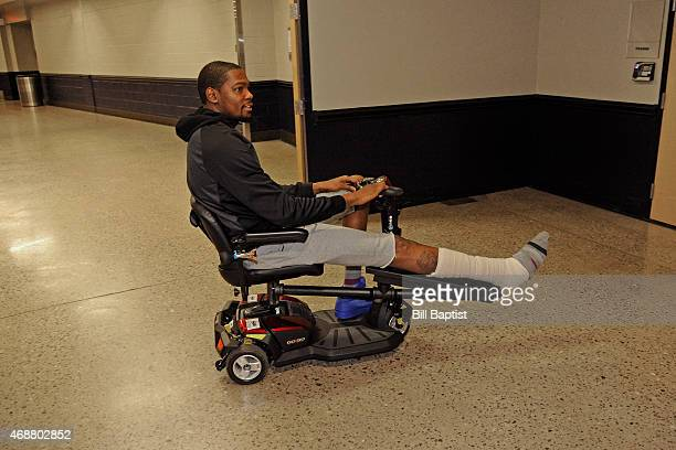 Kevin Durant of the Oklahoma City Thunder arrives before the game against the Houston Rockets on April 5 2015 at Chesapeake Energy Arena in Oklahoma...